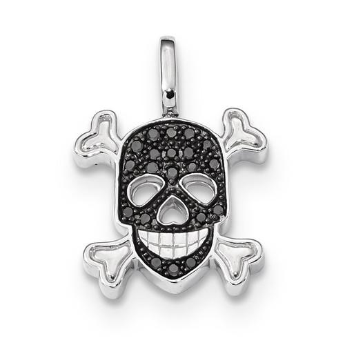 0.2ct. Black & White Diamond Reversible Skull Pendant Sterling Silver Rhodium QDX1260