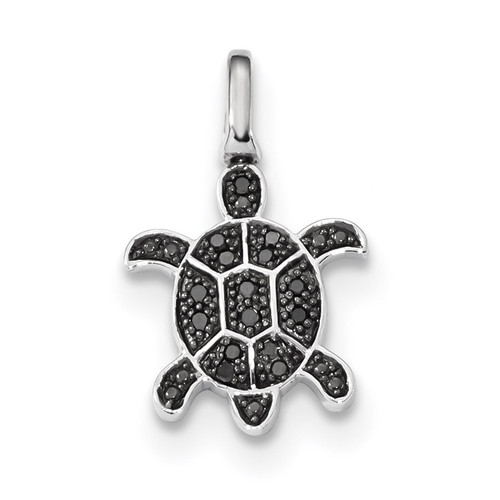 0.15ct. Black &White Diamond Reversible Turtle Pendant Sterling Silver Rhodium QDX1262