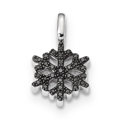 0.15ct Black & White Diamond Reversible Snowflake Pendant Sterling Silver Rhodium-plated QDX1263