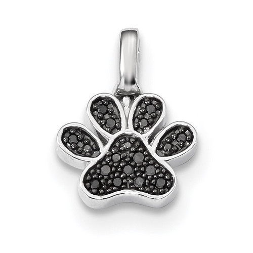 0.15ct. Black & White Diamond Reversible Pawprint Pendant Sterling Silver Rhodium-plated QDX1266
