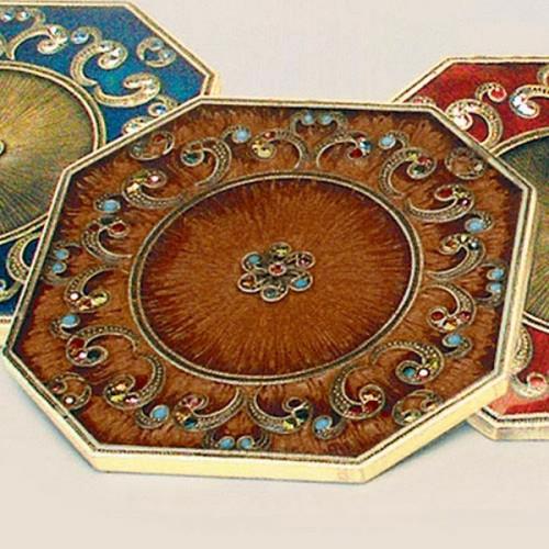 Tizo Floral Jeweled Coaster - Brown