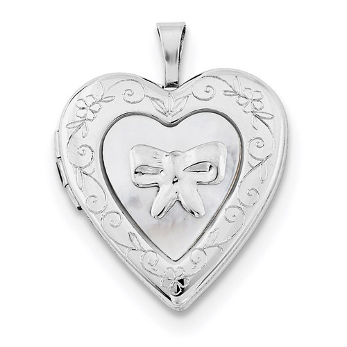 20mm Mother Of Pearl Bow Heart Locket Sterling Silver Rhodium-plated QLS673