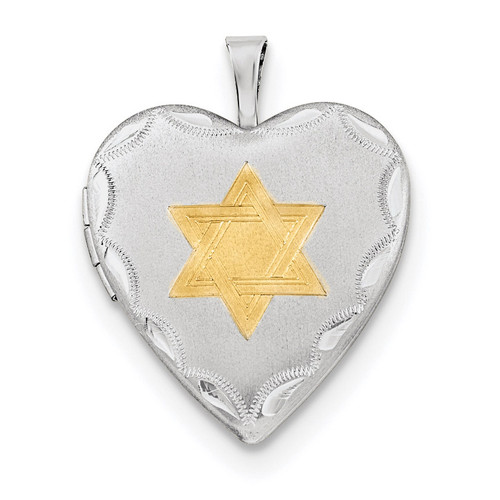 20mm Gold-plated Star of David Heart Locket Sterling Silver Rhodium-plated QLS680