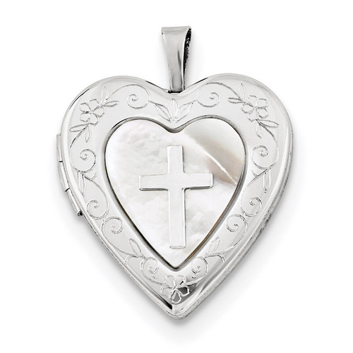 20mm Mother Of Pearl Cross Heart Locket Sterling Silver Rhodium-plated QLS681