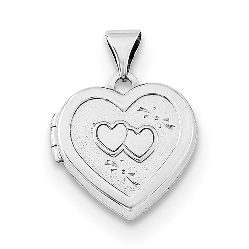 15mm Double Heart on Heart Locket Sterling Silver Rhodium-plated QLS687