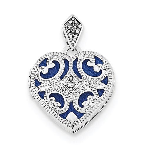 15mm Diamond Heart Locket Sterling Silver Rhodium-plated QLS701