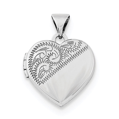 15mm Heart Locket Sterling Silver Rhodium-plated QLS702