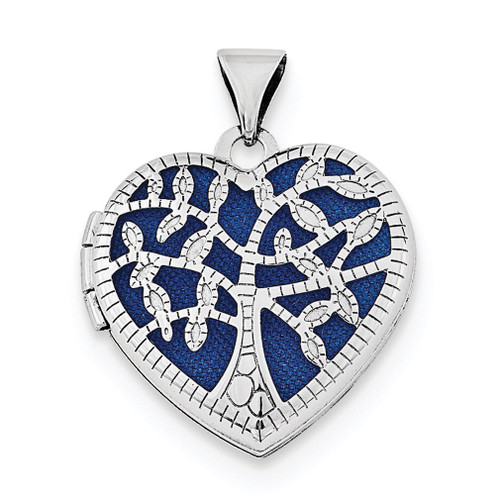 18mm Filigree Tree Heart Locket Sterling Silver Rhodium-plated QLS703
