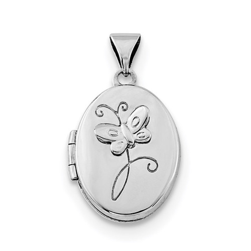 17x14mm Butterfly Locket Sterling Silver Rhodium-plated QLS719