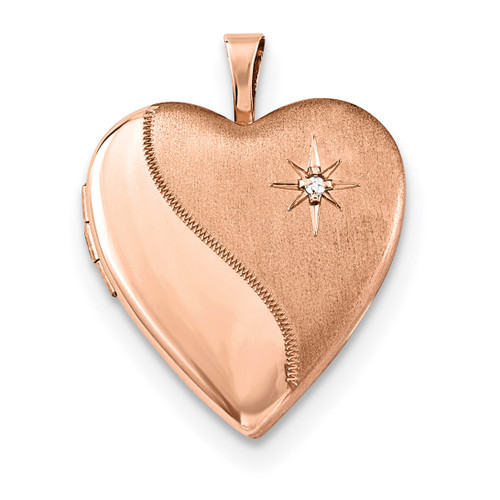 20mm Diamond Heart Locket Sterling Silver Rose Gold-plated QLS738
