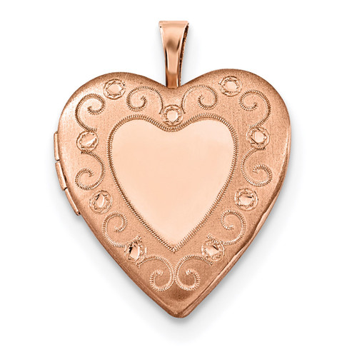 20mm Diamond-cut Heart Locket Sterling Silver Rose Gold-plated QLS739