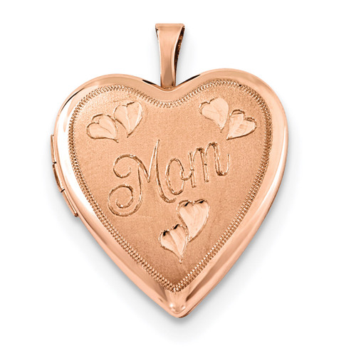 20mm MOM Heart Locket Sterling Silver Rose Gold-plated QLS740