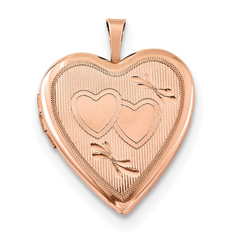 20mm Double Hearts Heart Locket Sterling Silver Rose Gold-plated QLS742