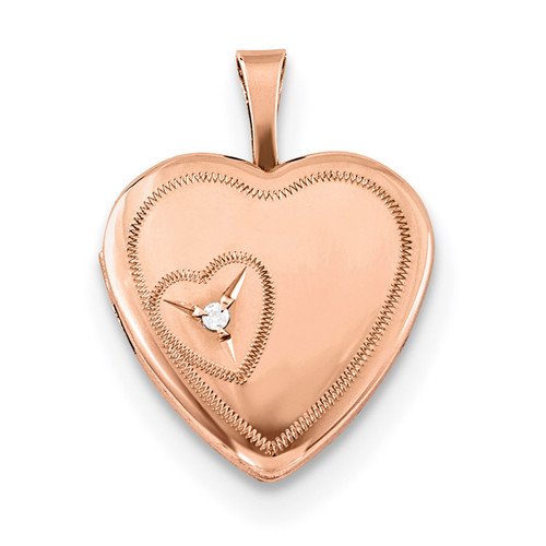 16mm Heart with Diamond Heart Locket Sterling Silver Rose Gold-plated QLS748