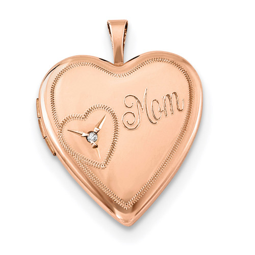 20mm Mom with Diamond Heart Locket Sterling Silver Rose Gold-plated QLS759