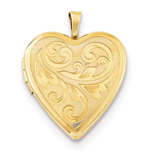 20mm Gold Plated Textured/Polish Swirl Heart Locket Sterling Silver QLS764