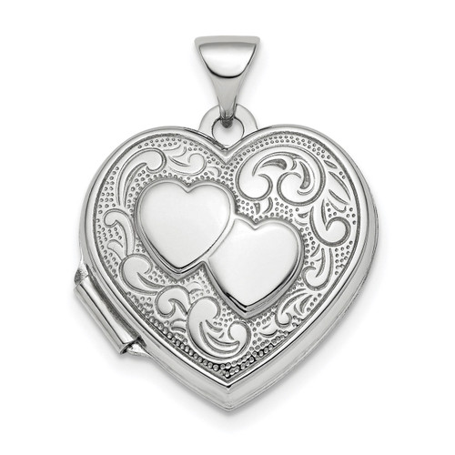 2-Heart Design 18mm Heart Locket Sterling Silver Rhodium-plated Polished QLS775