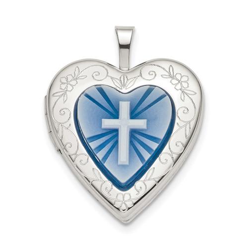 20mm Blue Resin Cross Cameo Heart Locket Sterling Silver QLS782