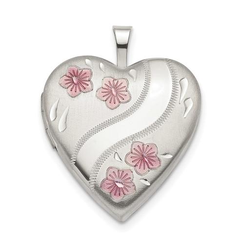 20mm Pink Enamel Flower Heart Locket Sterling Silver QLS784