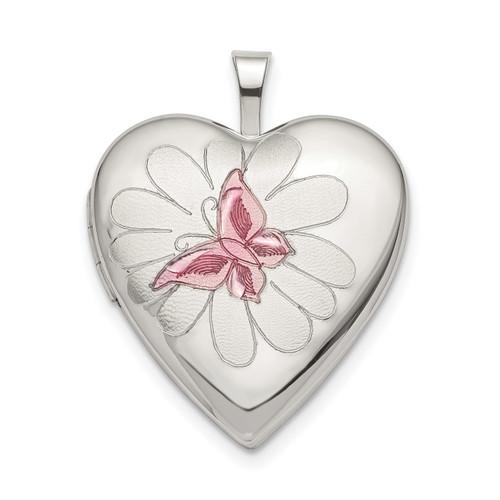 20mm Pink Enamel Butterfly Heart Locket Sterling Silver QLS787