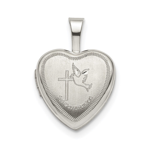 12mm Confirmation Cross with Dove Heart Locket Sterling Silver QLS792