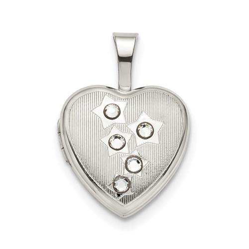 12mm Stars CZ Heart Locket Sterling Silver QLS793