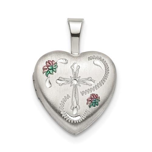 12mm Enameled Cross Heart Locket Sterling Silver QLS794