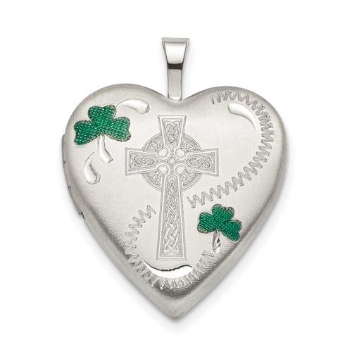 20mm Green Enamel Clover Cross Heart Locket Sterling Silver QLS795