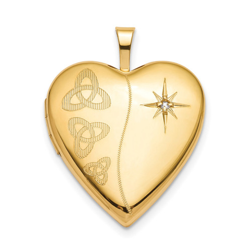 20mm Diamond Trinity Heart Locket Sterling Silver Gold-plated QLS796