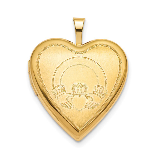 20mm Claddagh Heart Locket Sterling Silver Gold-plated QLS797