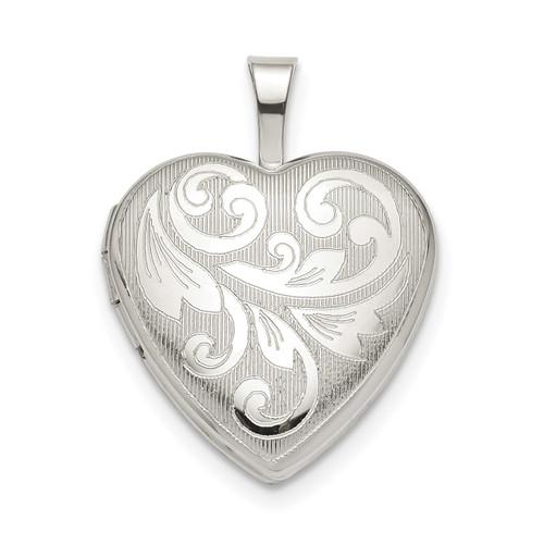 16mm Filigree Heart Locket Sterling Silver QLS799