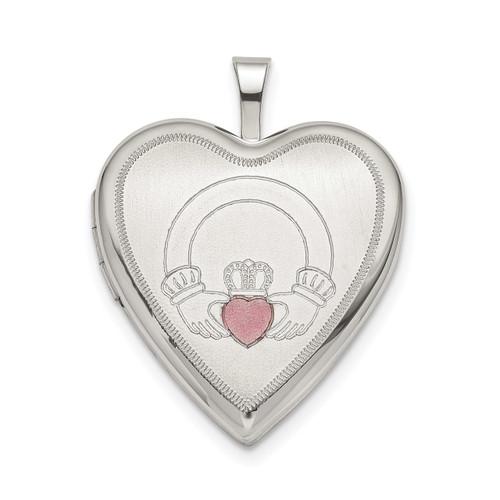 20mm Pink Enamel Claddagh Heart Locket Sterling Silver QLS801