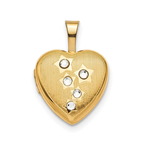 12mm Star CZ Heart Locket Sterling Silver Gold-plated QLS802