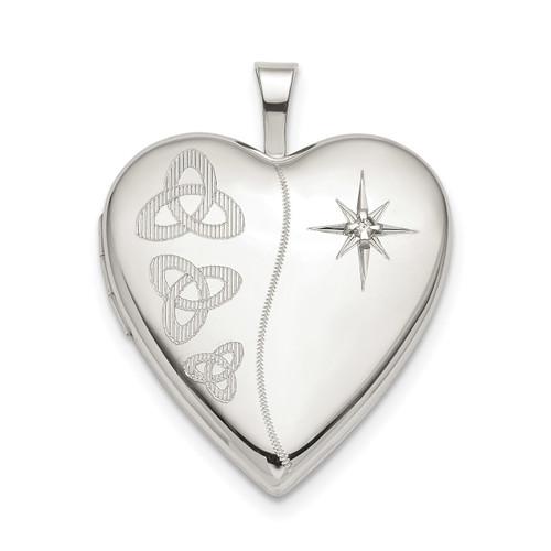 20mm Diamond Trinity Heart Locket Sterling Silver QLS803