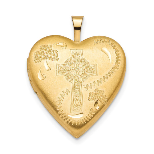 20mm Clover & Cross Heart Locket Sterling Silver Gold-plated QLS804