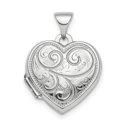 15mm Heart Patterned Locket Sterling Silver Rhodium-plated Polished QLS809