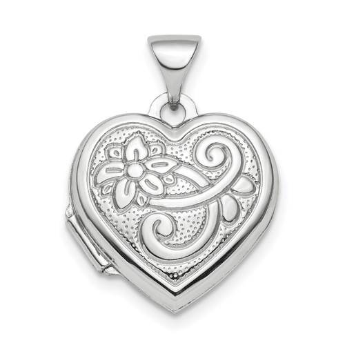 15mm Patterned Heart Locket Pendant Sterling Silver Rhodium-plated QLS811