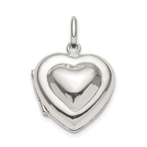 16mm Heart Locket Sterling Silver QLS818