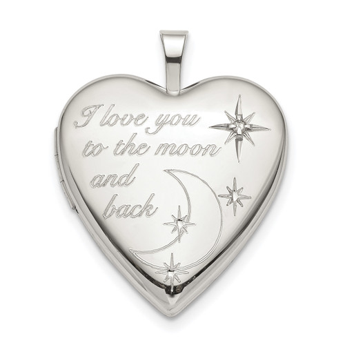 20mm LOVE TO THE MOON Diamond Heart Locket Sterling Silver QLS820