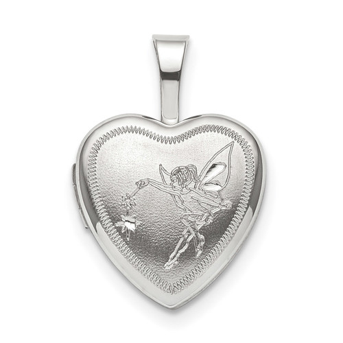 12mm Fairy Heart Locket Sterling Silver QLS830