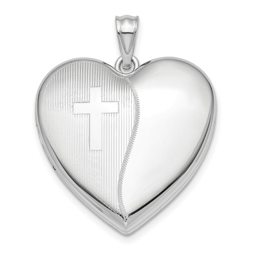 24mm with Cross Design Ash Holder Heart Locket Sterling Silver Rhodium-plated QLS872
