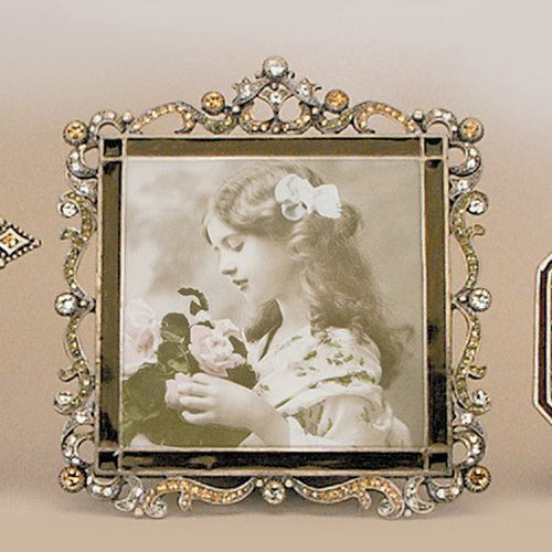 Tizo Enamel Jeweled Picture Frame 3 x 3 Inch RS049TP33