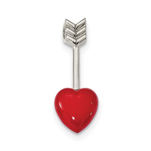 Arrow Enamel Heart Chain Slide Sterling Silver Rhodium-plated QP4808