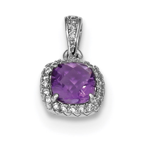 .86Amethyst/Created White Sapphire Pendant Sterling Silver Rhodium QP4810