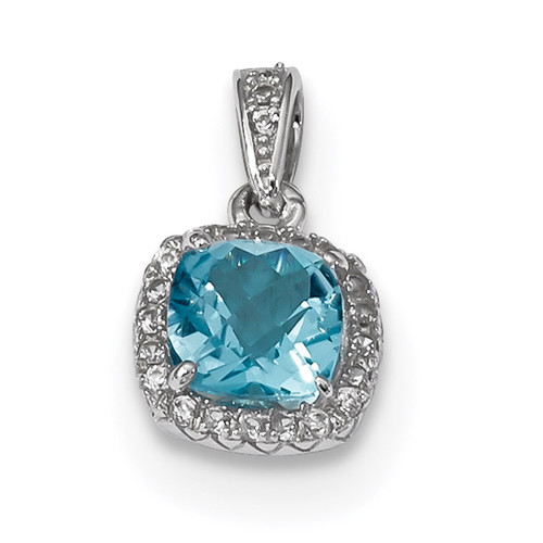 1.05 Blue Topaz Created White Sapphire Pendant Sterling Silver Rhodium QP4824