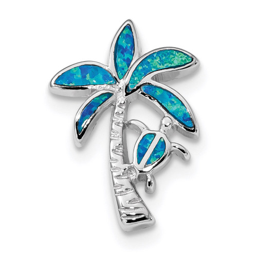 Blue Inlay Created Opal Palm Tree Slide Sterling Silver Rhodium-plated QP4862
