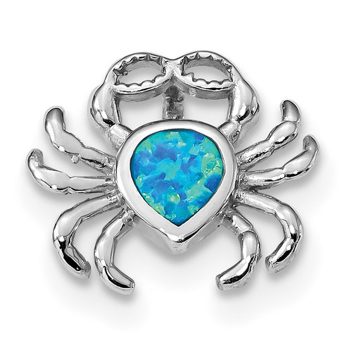 Blue Inlay Created Opal Crab Slide Sterling Silver Rhodium-plated QP4875