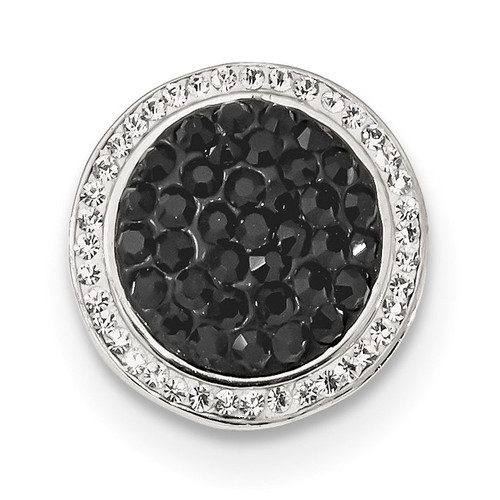 Black White Crystal Circle Chain Slide Sterling Silver QP4974
