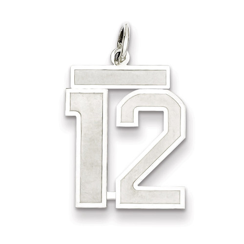 Pendant Number 12 Satin Sterling Silver Medium QPM12