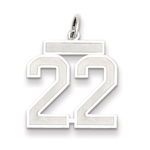 Pendant Number 22 Satin Sterling Silver Medium QPM22